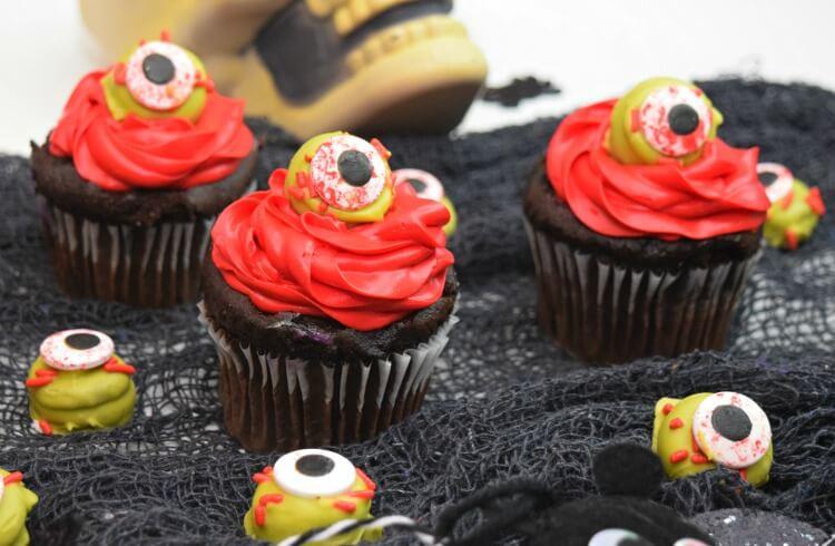 A set of three chocolate Zombie Eye Cupcakes