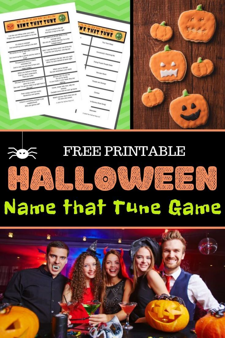 A collage for the Free Printable Halloween Name that Tune Game