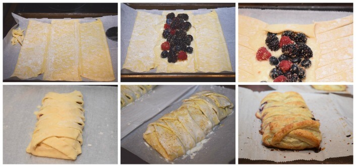 A how to collage to make the braided berry cheese danish.