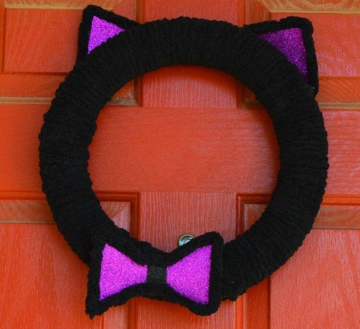 Black Cat Halloween Wreath