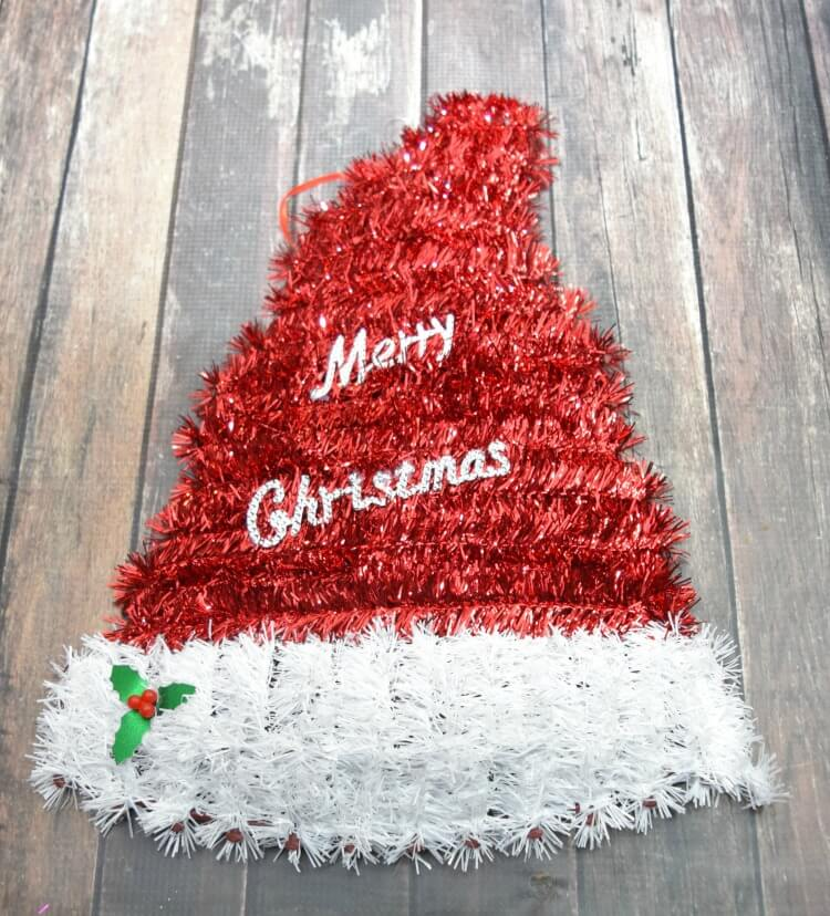 Tinsel Christmas Santa Hat sign from the Dollar Tree
