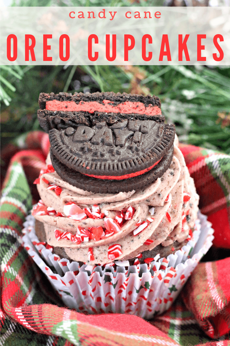 A close up image of the Candy Cane OREO Cupcakes