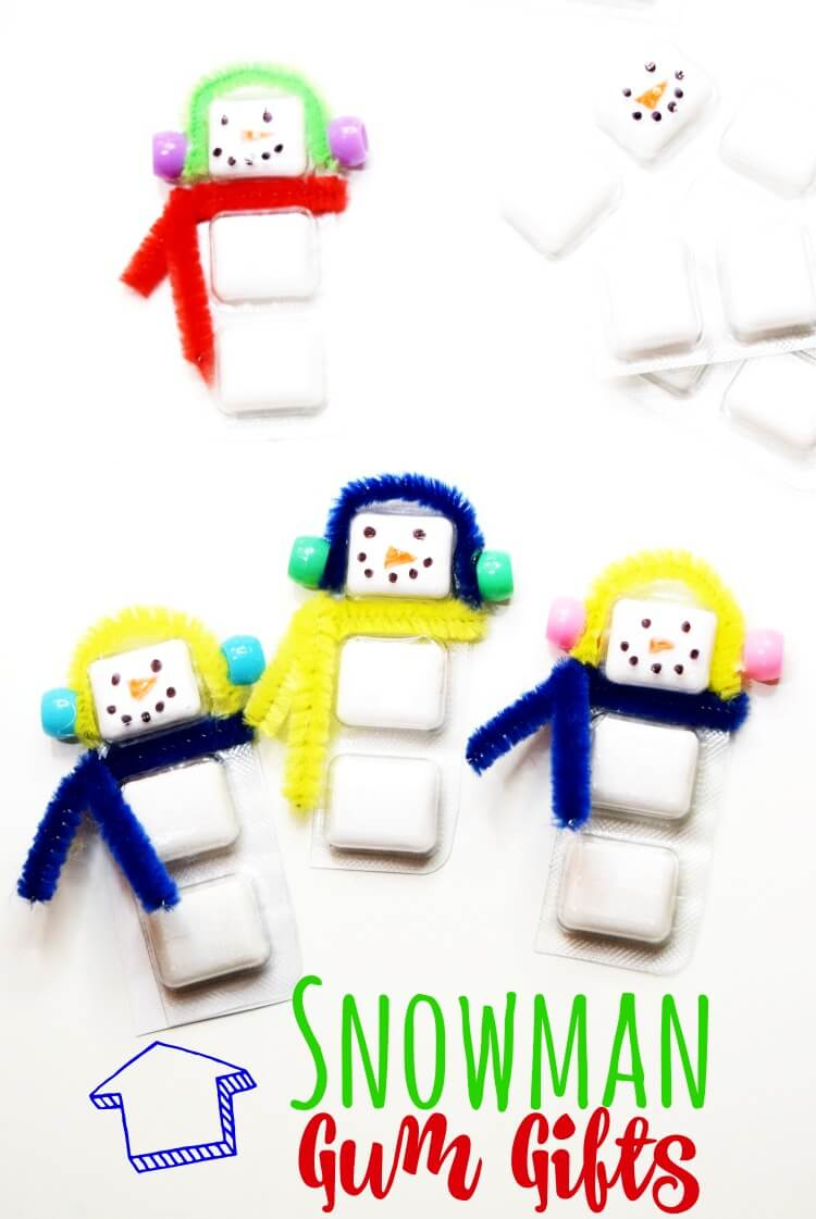 Turn Trident White Gum into a Snowman Gum with ear muffs and a scarf.