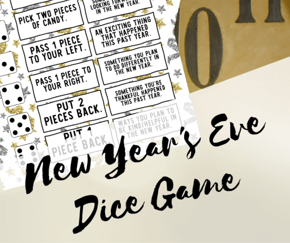 New Year's Eve Dice Game included in the free printable New Year's Eve Party Kit