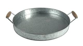 Artland Masonware Round Galvanized Metal Party Serving Tray with Wooden Handles
