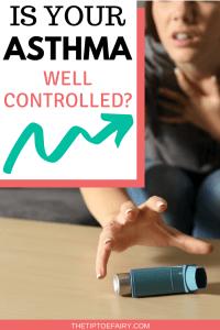Woman reaching for inhaler having an asthma attack