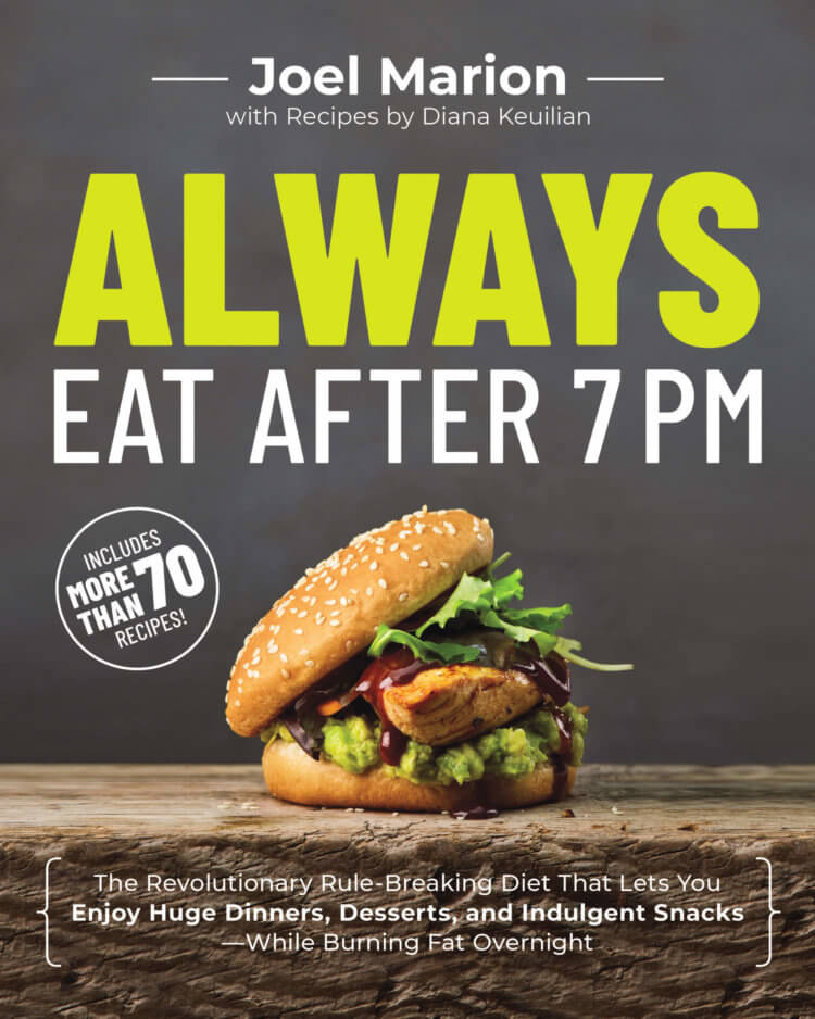 The book cover for Always Eat After 7 pm with a burger on the cover.