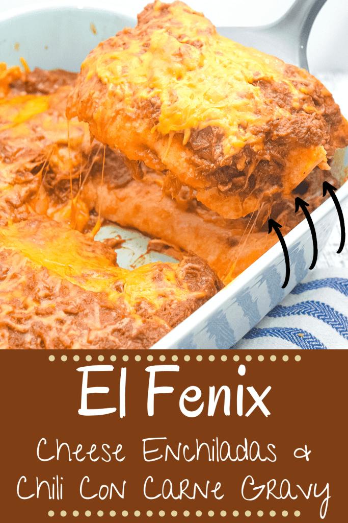 El Fenix Cheese Enchiladas made at home with authentic enchilada chili gravy.