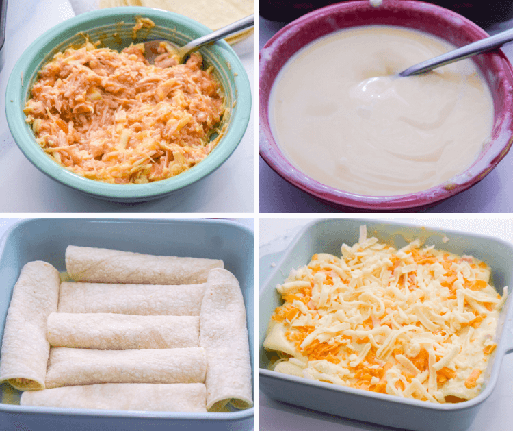 A collage of images showing how to make the easiest chicken enchiladas.