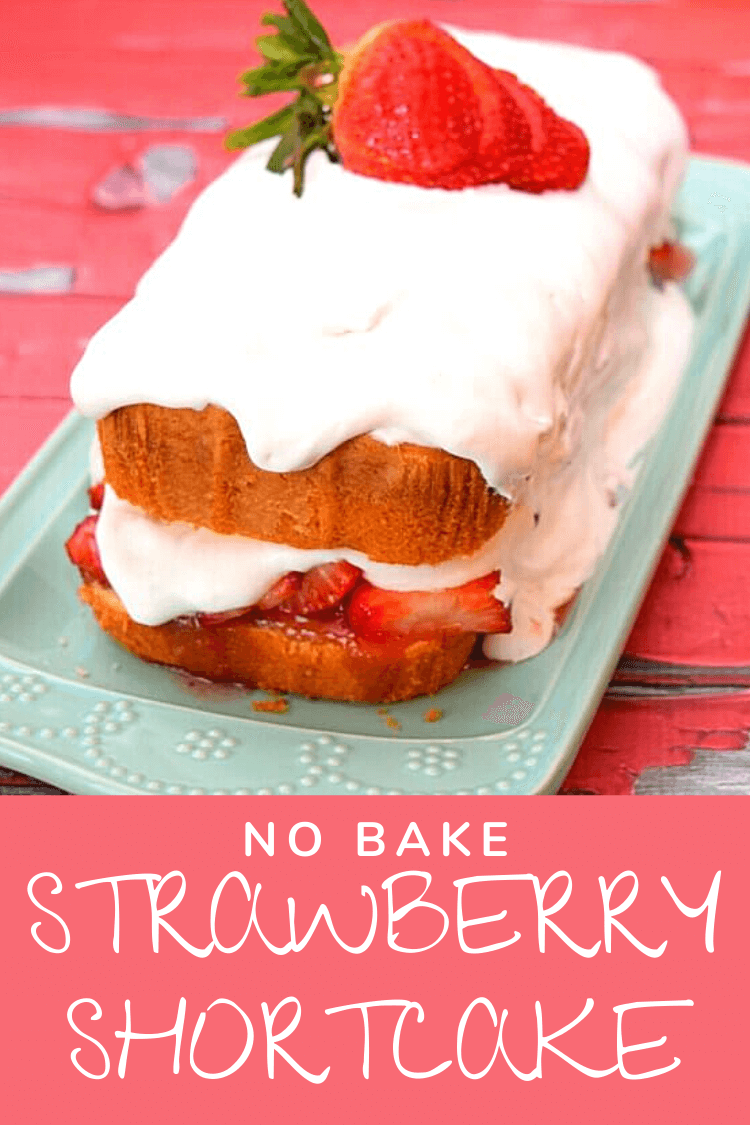 Side view of the no bake strawberry shortcake with frozen pound cake, strawberries, and covered in whipped cream.