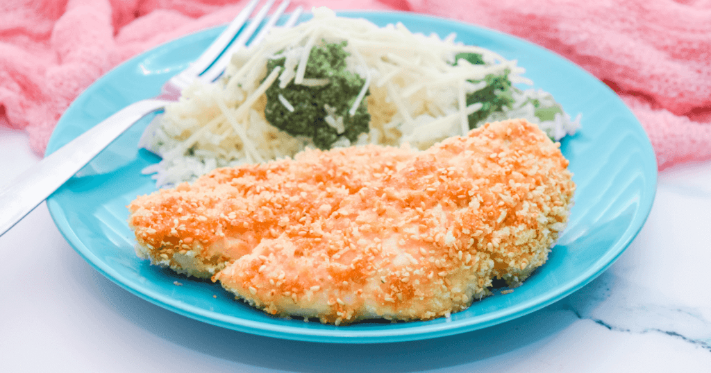 Sesame Chicken Tenders with Parmesan Broccoli Rice