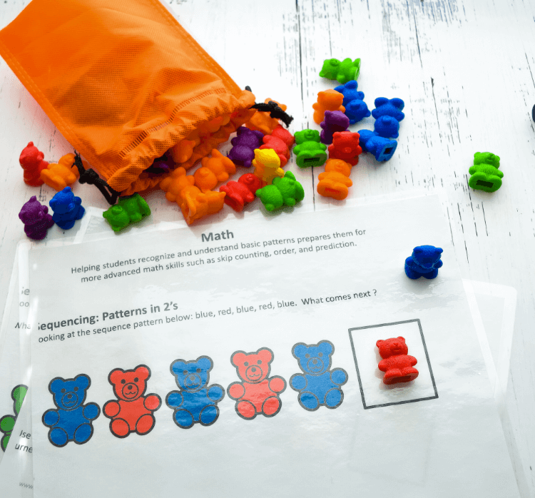 Plastic rainbow bears and eBook pages for making simple patterns.