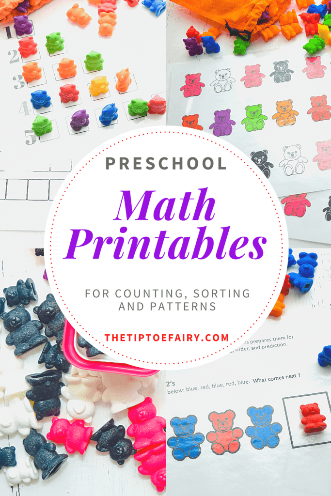 Get these free math printables to teach counting, sorting, and patterns for preschoolers.