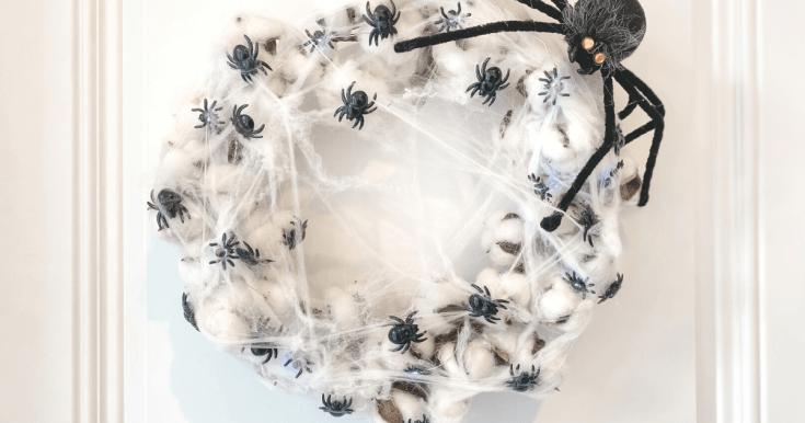 Halloween Cotton Spider Web Wreath