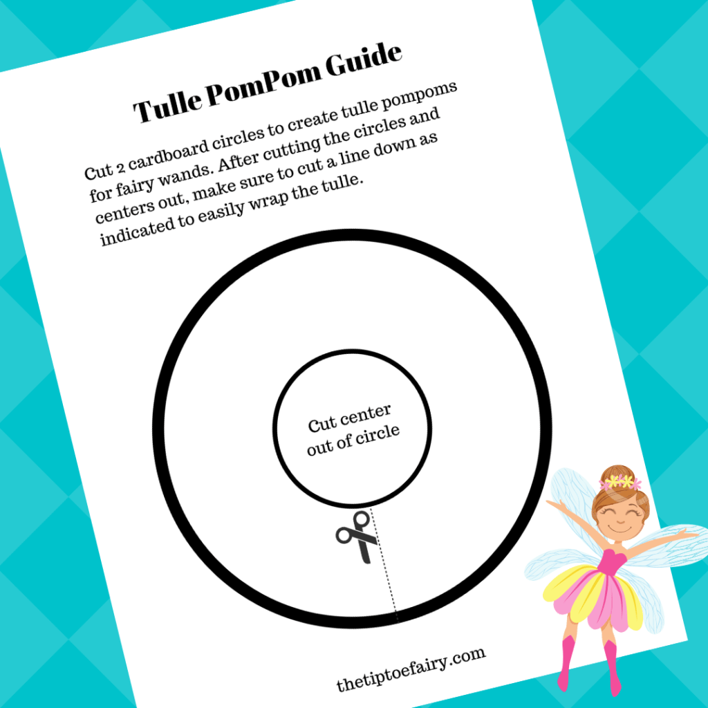 Turquoise background with the image of the Tulle PomPom Guide printable.