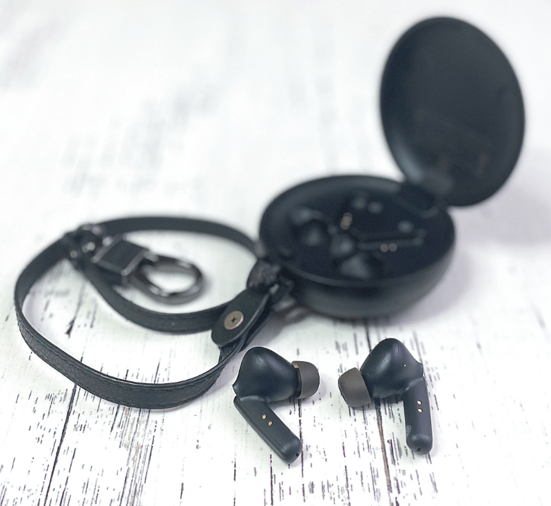 A close up of the PaMu Quiet earbuds