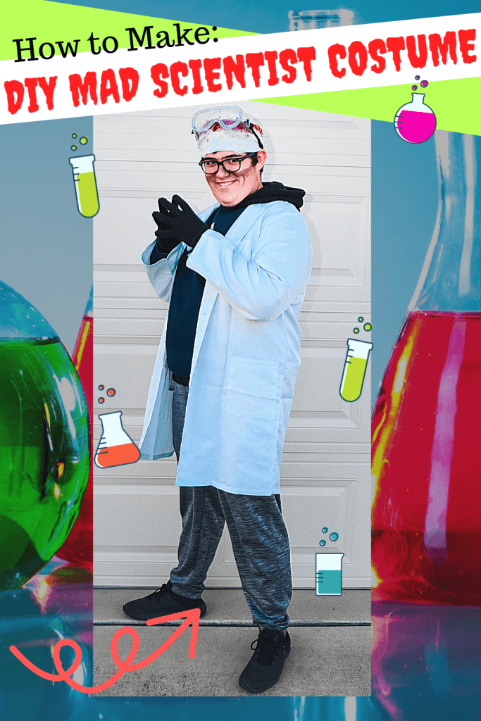 Full body photo image of a teenage boy in his DIY Mad Scientist Costume