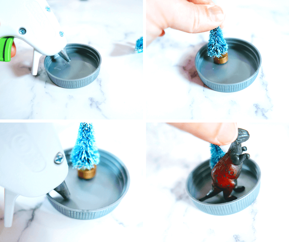 Adding the tree and dinosaur to the Christmas ornament