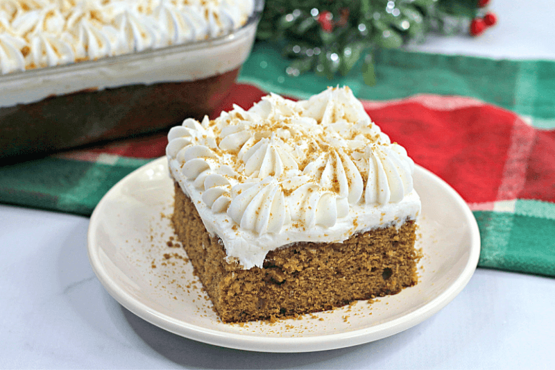 Close up of the Gingerbread Poke Cake