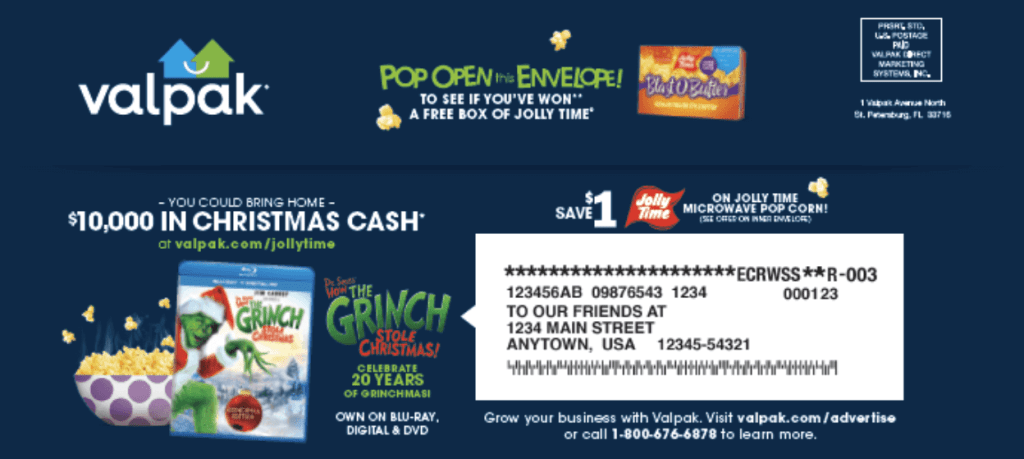Valpack envelope with the Tis the Season to be Jolly Sweepstakes.