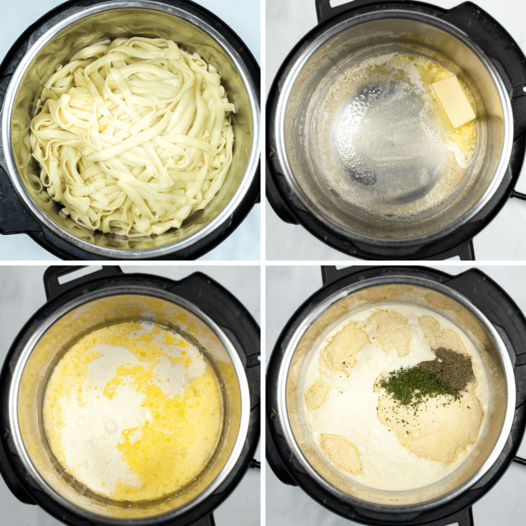 Collage of four images on how to make Fettuccine Alfredo in the Instant Pot
