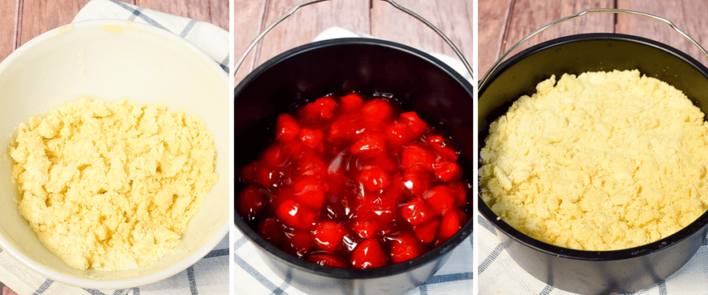 Collage of 3 images to show how to make the 3-Ingredient Strawberry Cobbler in the Air Fryer