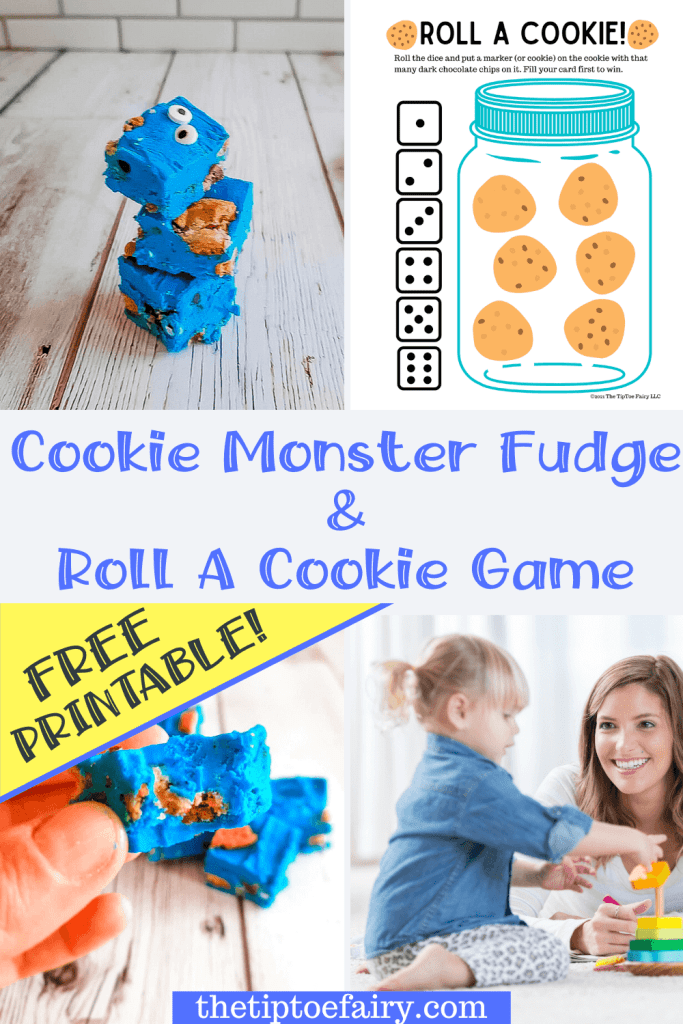 Title collage image for Cookie Monster Fudge and Roll A Cookie Game