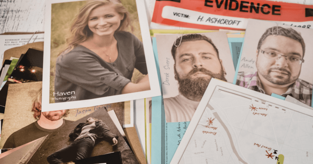 The case file laid out in a pile for Harmony Ashcroft from Unsolved Case Files.