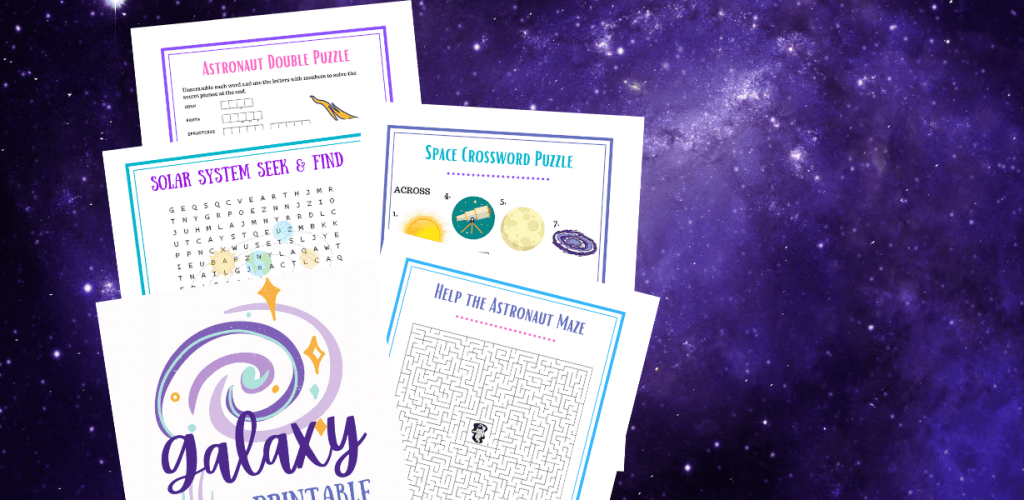 A purple galaxy with images of the free kids printable galaxy puzzle pack