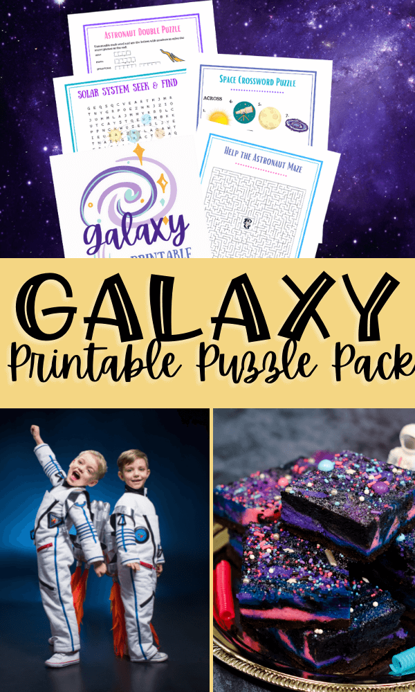 title image with a collage of images - one image with the printables laid out over purple outerspace, two kids in astronaut costumes, and some galaxy cheesecake bars