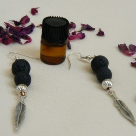 Feather Lava Stone Aromatherapy Earrings