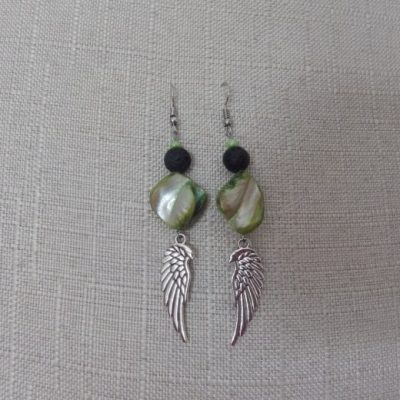 Angel Wings as Jewellery with Abalone Shell, Lava Stones, and Essential Oils