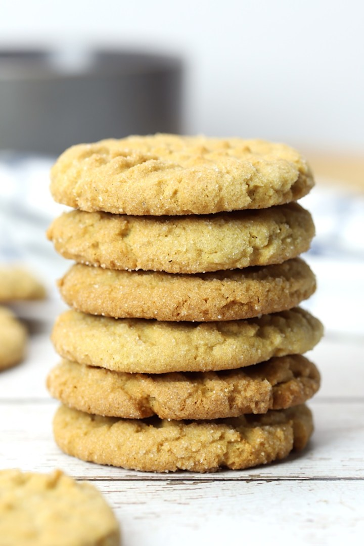 Stack of peanut butter cookies.