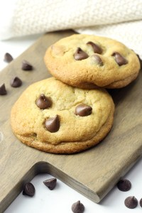 Two cookies filled with chocolate chips.