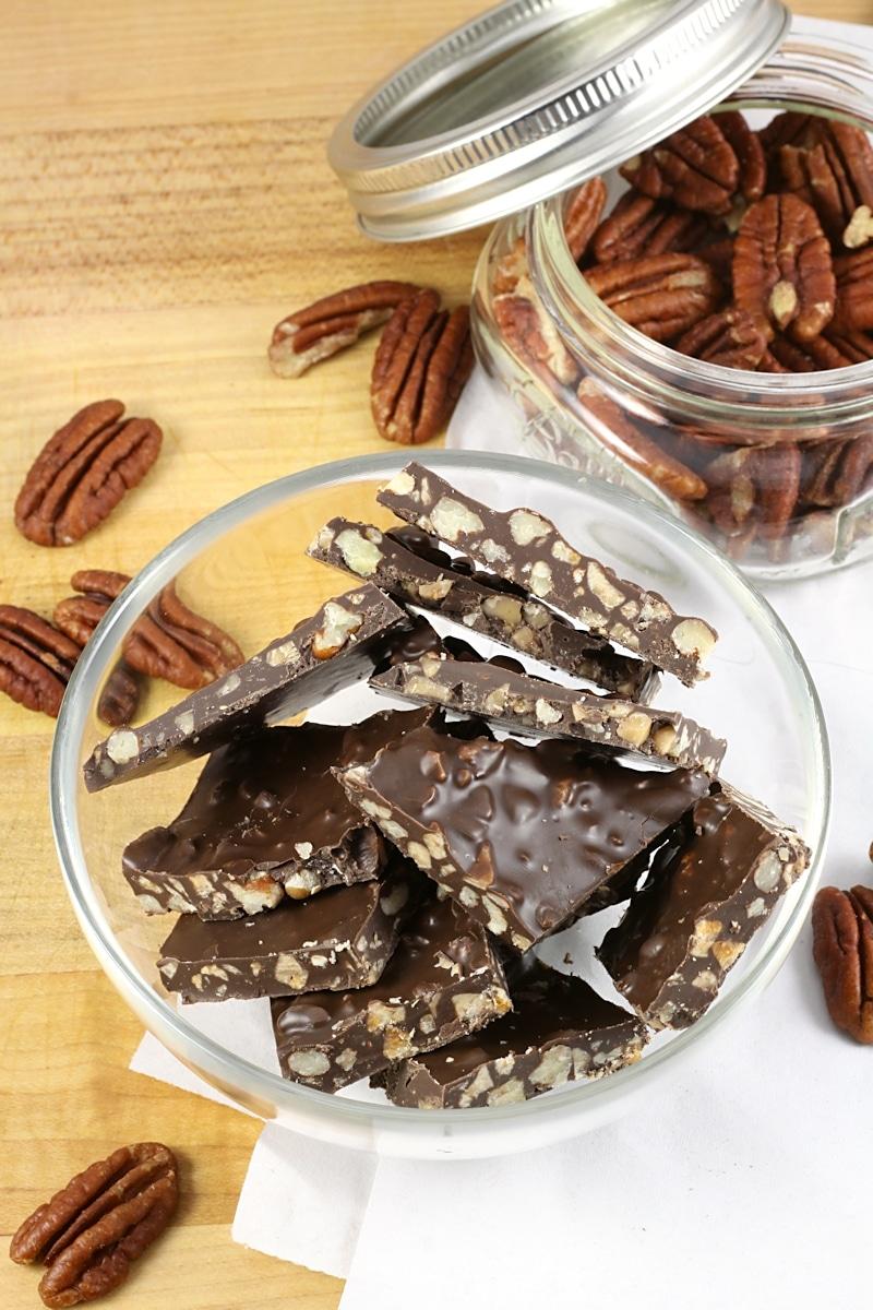 Dark Chocolate Pecan Toffee Bark by The Toasty Kitchen