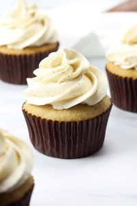 Cupcake topped with browned butter frosting.
