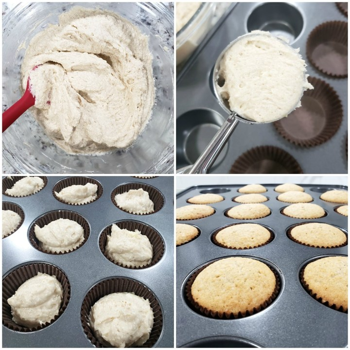 Portioning cupcake batter into cupcake pan.