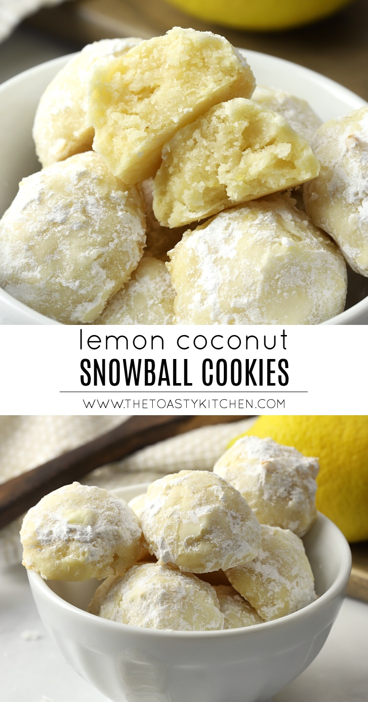 Lemon Coconut Snowball Cookies by The Toasty Kitchen