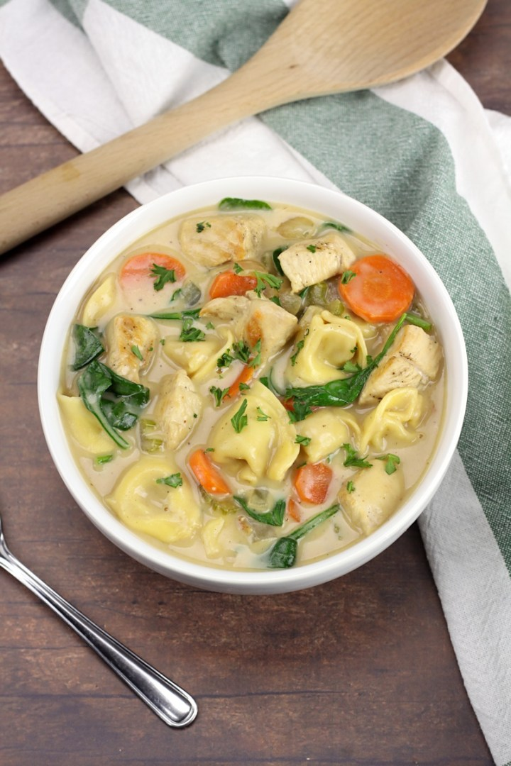 Creamy Chicken Tortellini Soup by The Toasty Kitchen