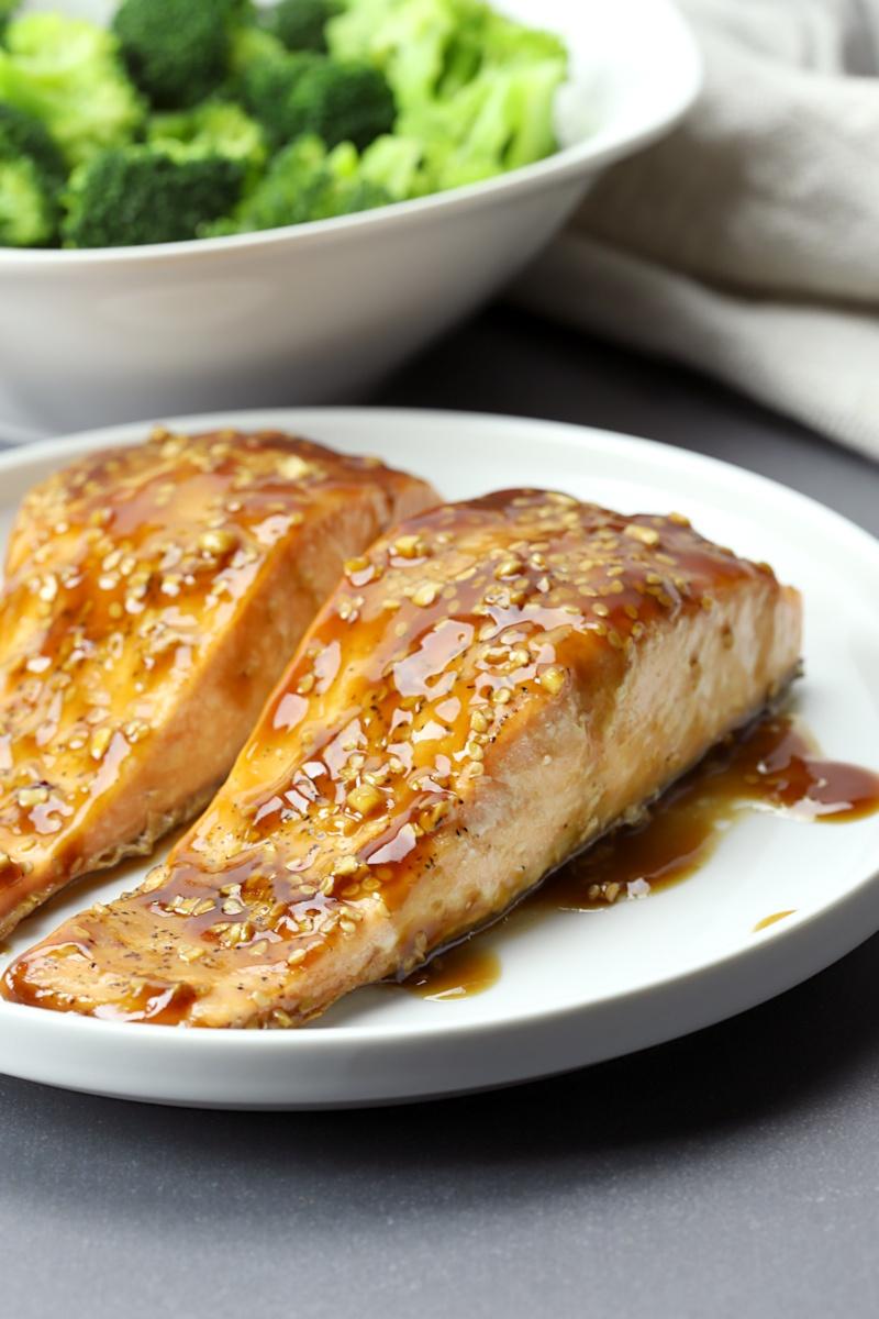 Salmon coated in a teriyaki glaze