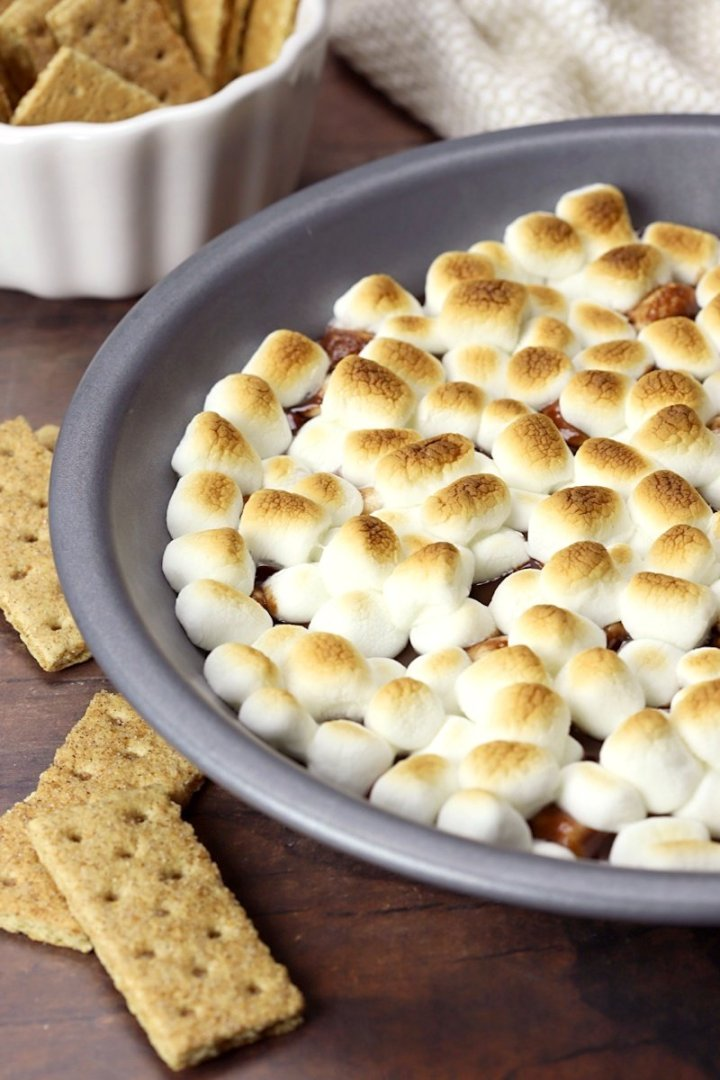 Close up of toasted marshmallows on top.