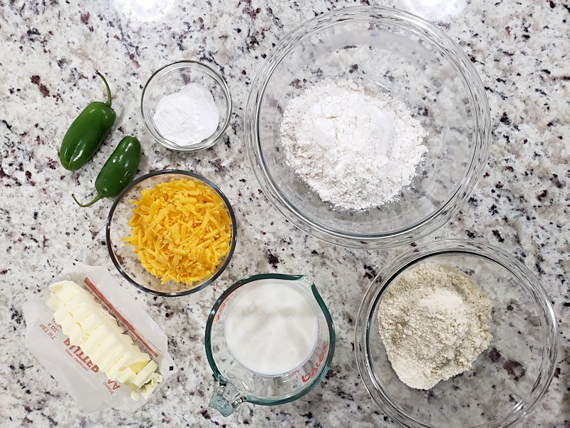 Ingredients for Jalapeño Cheddar Cornmeal Biscuits.