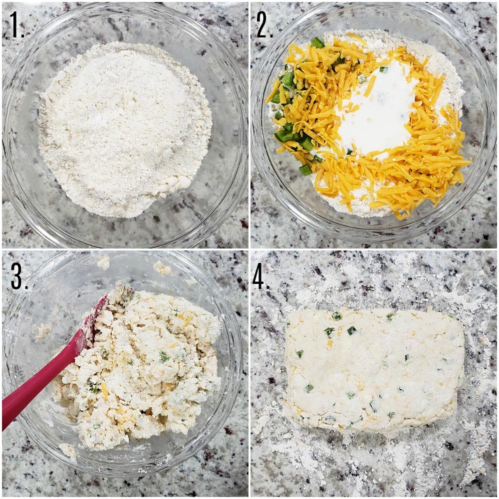 Mixing biscuit dough.