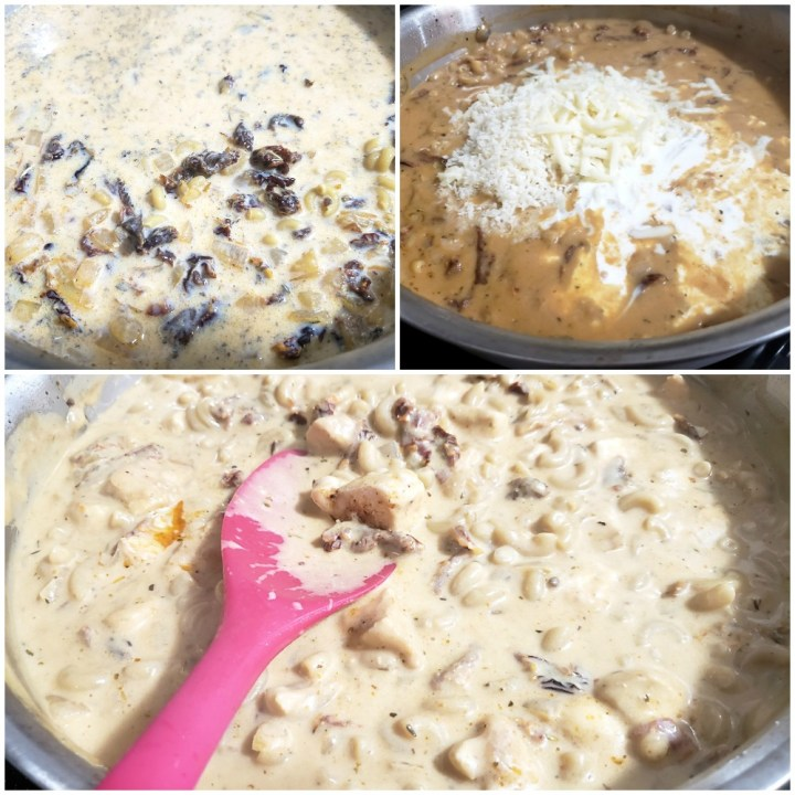 Adding cheeses to a pan of macaroni and cheese.