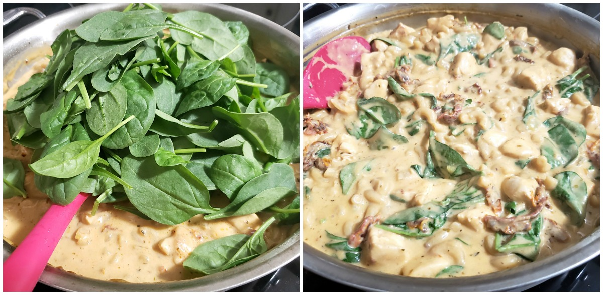 Adding spinach to tuscan chicken mac and cheese.