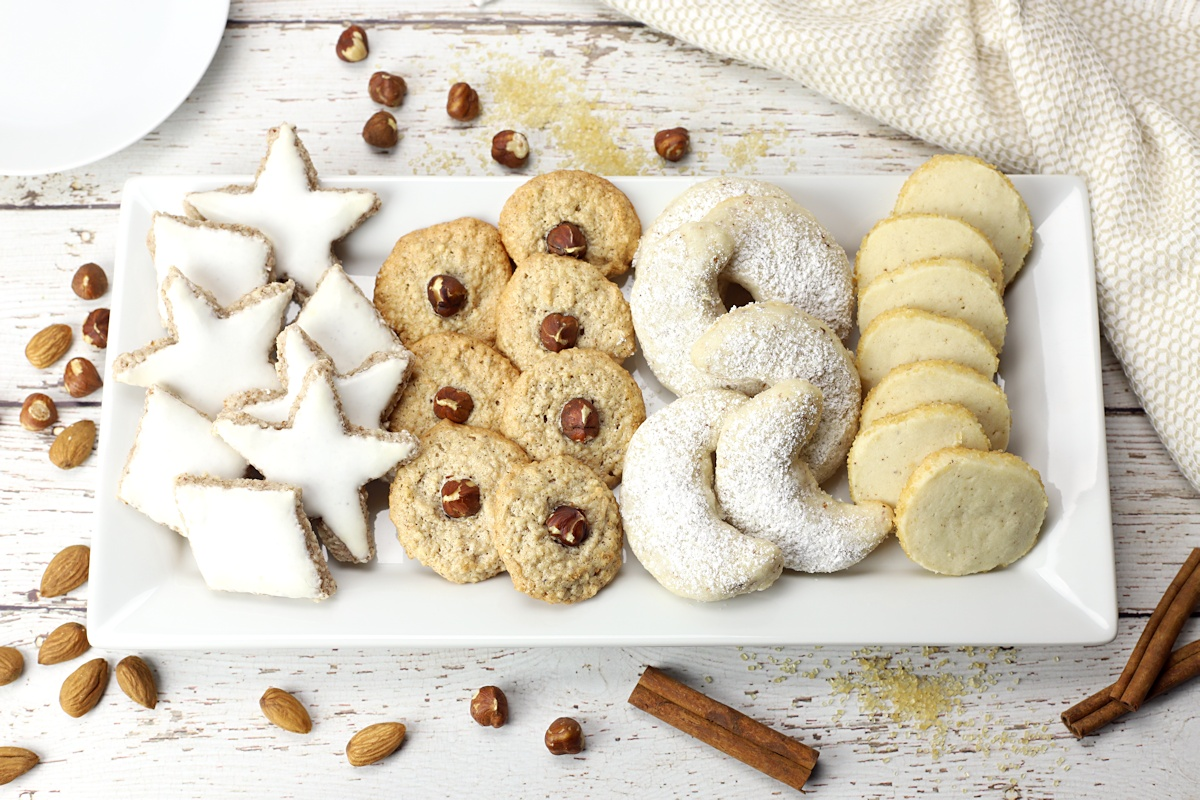 Serving plate filled with German cookies.