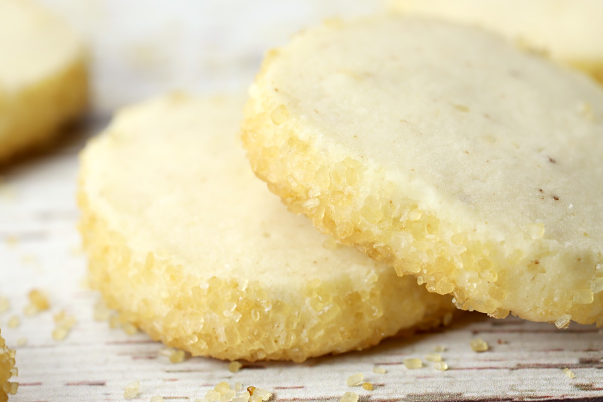 Turbinado sugar on edges of shortbread cookies.