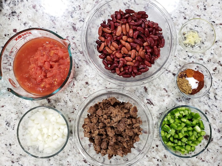 Ingredients laid out to make slow cooker chili.