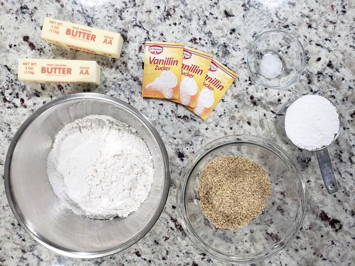 Ingredients to make vanillekipferl.