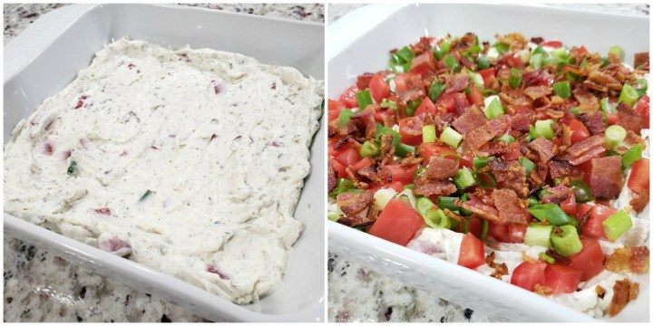 Spreading dip into a serving dish and topping with ingredients.